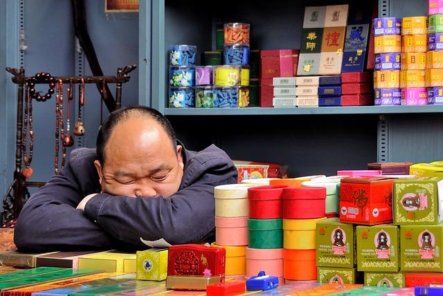 spící prodejce